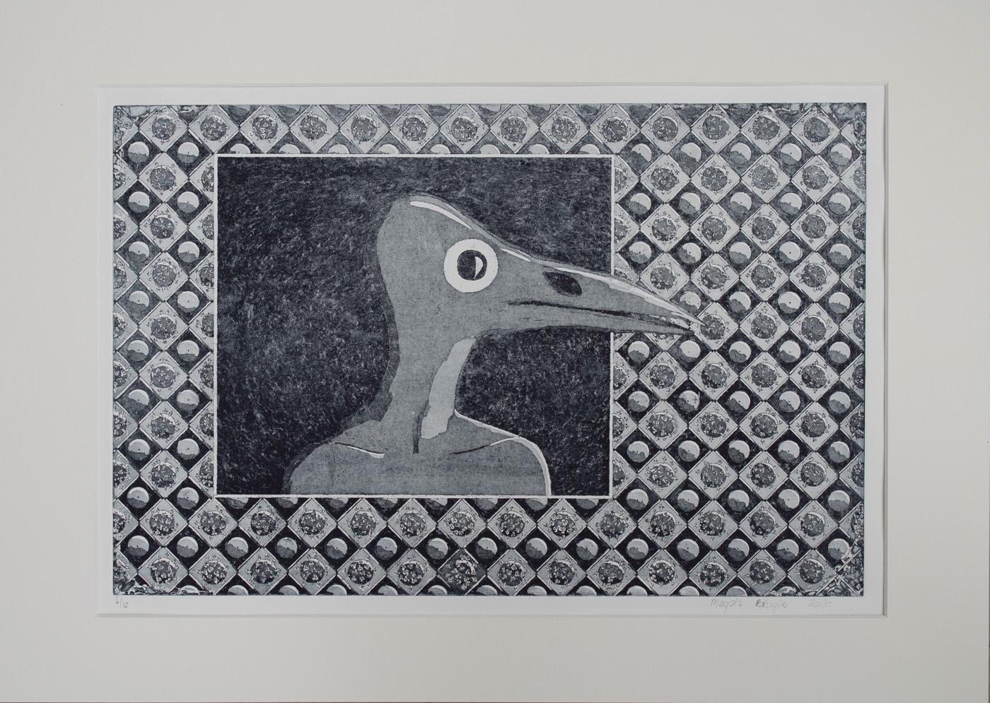Life Patterns aquatint etching - plague doctor 2