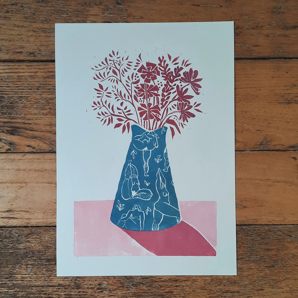 Full Bloom - Lino Print