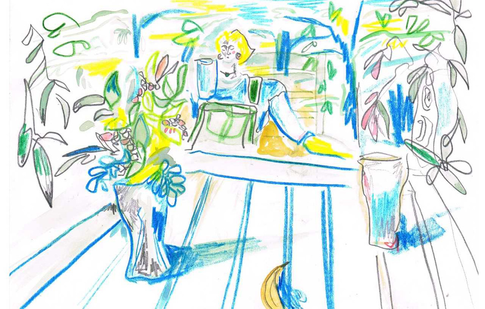 Sunny Afternoon - Crayon and Watercolour