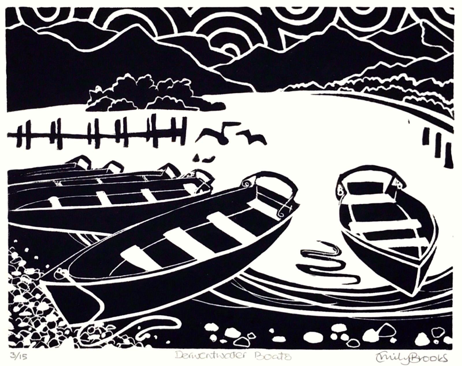 Derwentwater Boats. Linocut print by Emily Brooks