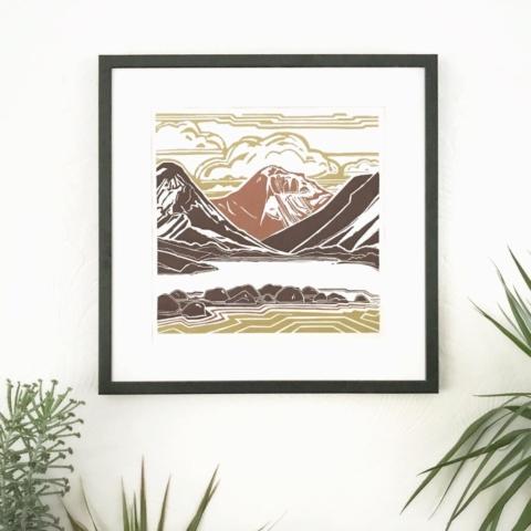 Rocks_Mountain_Cloud. Multi-block linocut print by Emily Brooks