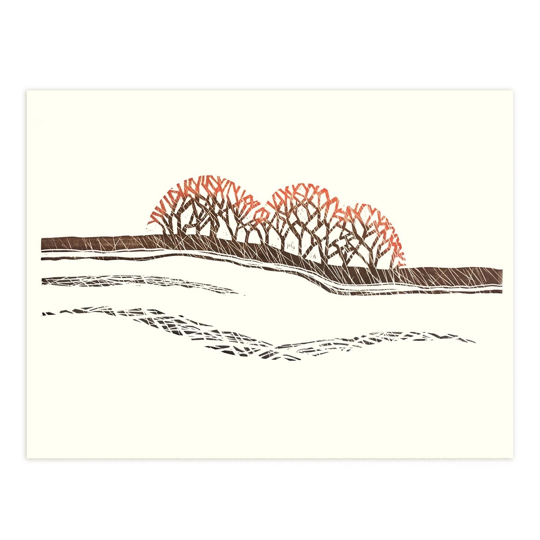 Sun DIpped Trees. Linocut print by Emily Brooks