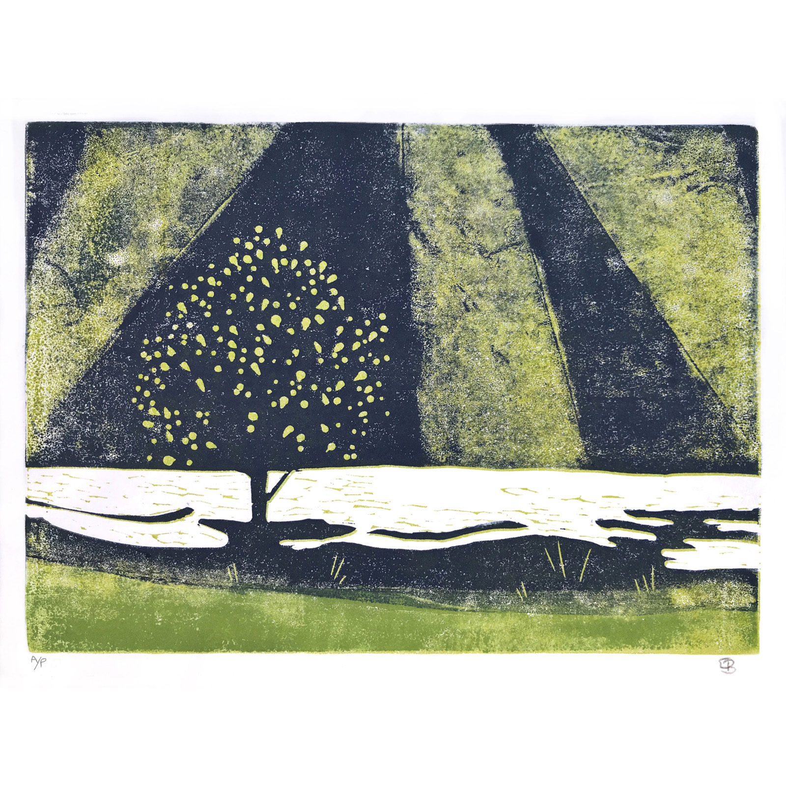 Tree and Rays, Reduction linocut Print by Emily Brooks